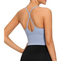 VIBOJOY Longline Strappy Padded Sports Bras Workout Running Tank Crop Tops Yoga Gym Fitness Activewear for Women