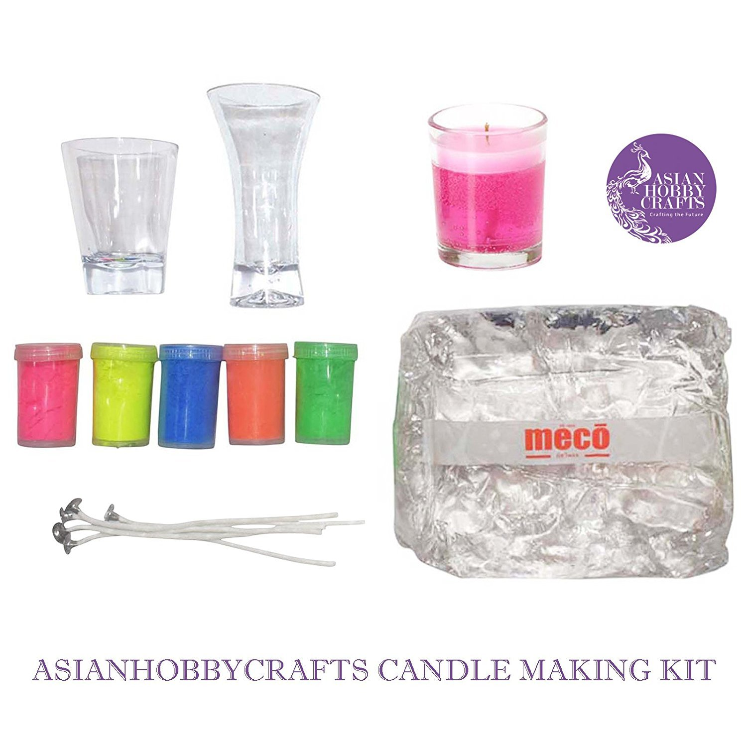 Candle Making Kit Contents: Transparent Gel Candle Wax, Wax Colors, Candle Wicks, Acrylic Candle Container