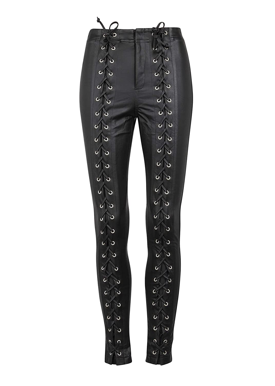 cb3a8cc1eff58 Womens Black Faux Leather Lace Up Biker Skinny Fit Biker Pants â€