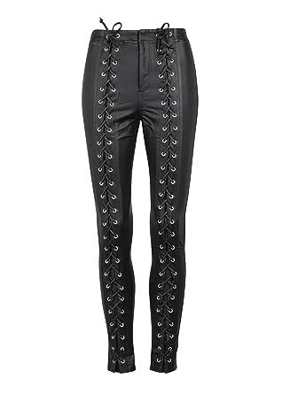 12c933eb2b70f Womens Black Faux Leather Lace Up Biker Skinny Fit Biker Pants – Size  Small