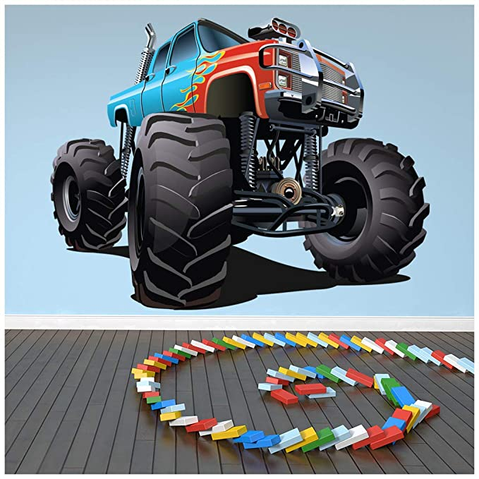 Awe Inspiring Amazon Com Azutura Blue Red Monster Truck Wall Sticker Cool Home Interior And Landscaping Ologienasavecom