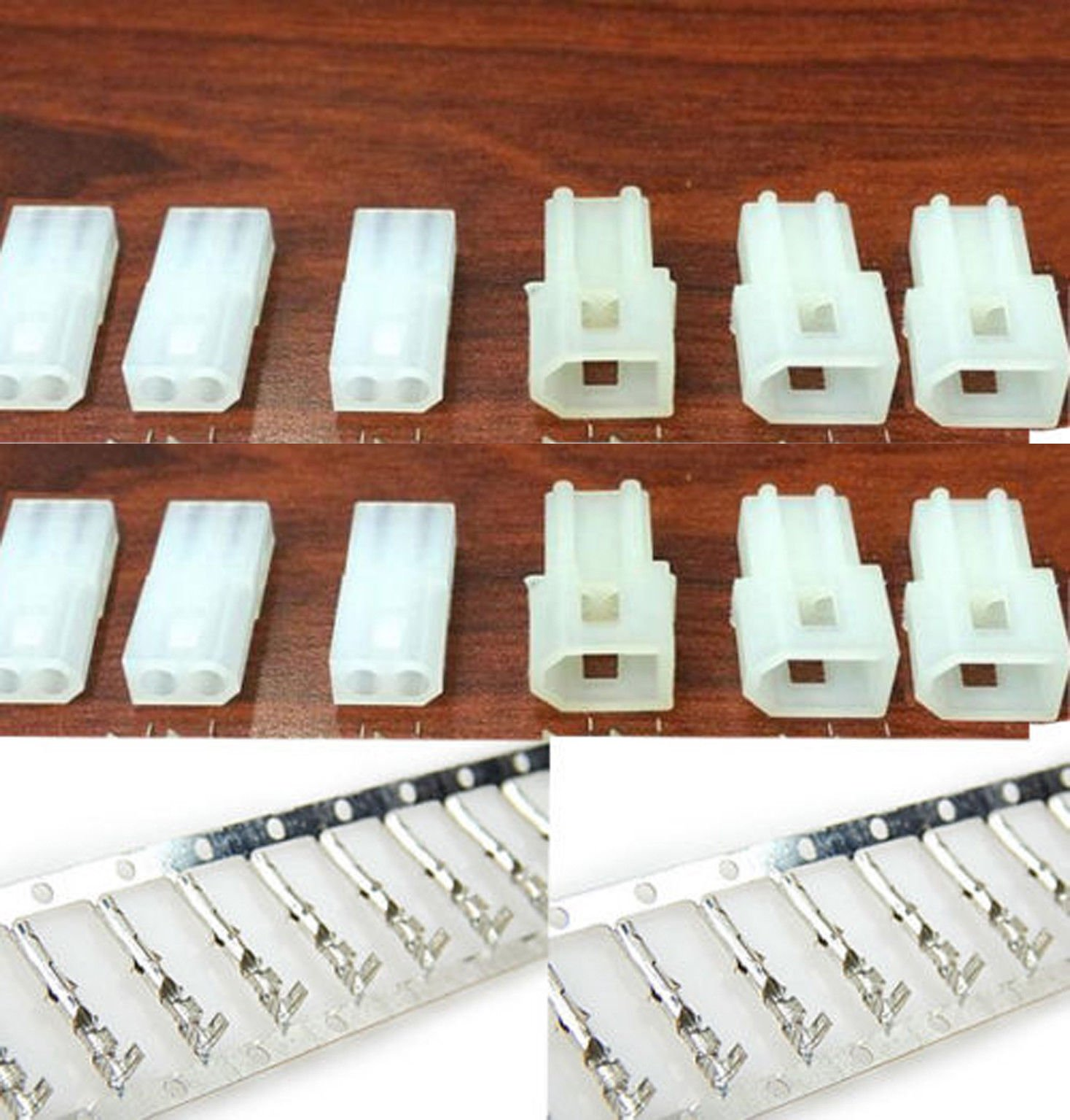Molex (2-Circuits) Male & Female Receptacle Plug, w/Terminal sockets w/18-24 AWG Standard .062'' Pins, Pitch 3.68mm (Pack of 6 Set