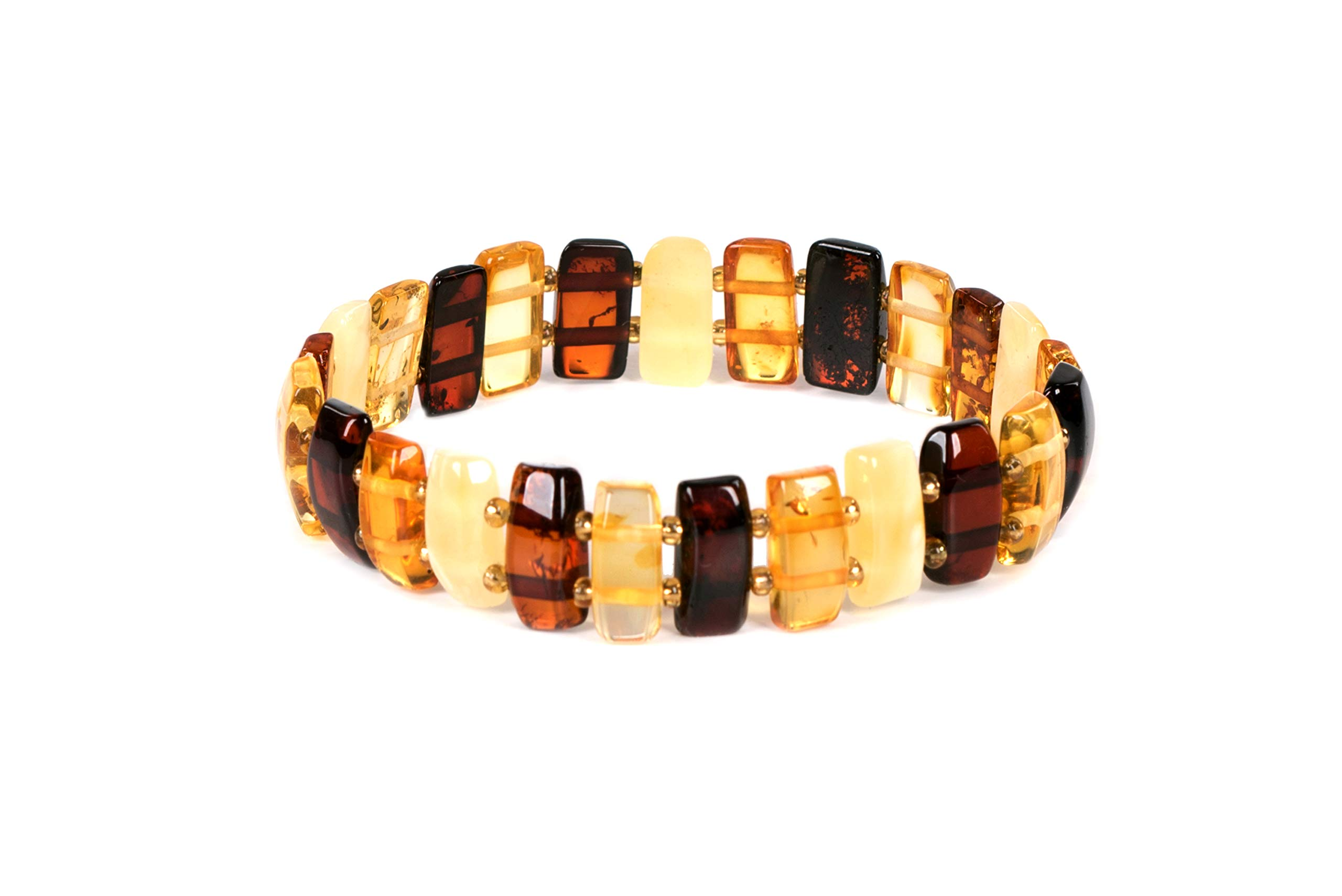 AMBERAGE Natural Baltic Amber Stretch Bracelet for Women - Hand Made from Polished/Certified Baltic Amber Beads by AMBERAGE