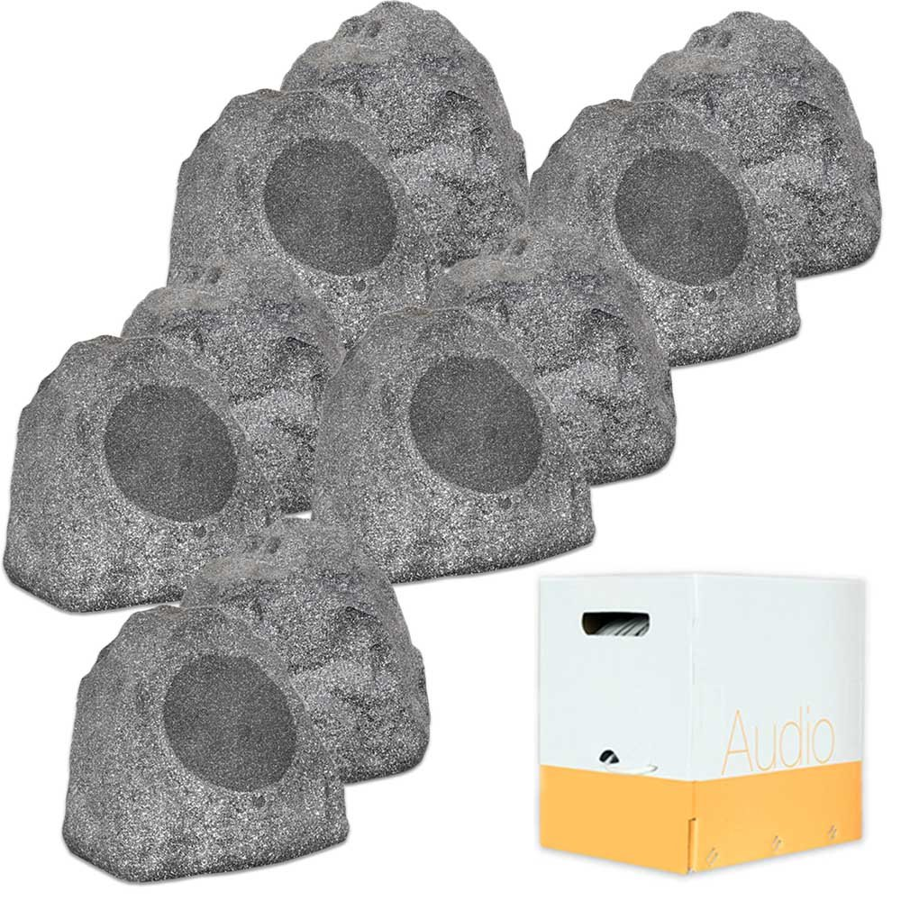 Theater Solutions 10R8G Outdoor Granite 8'' Rock 10 Speaker Set with Wire for Yard Pool Spa Patio Garden by Theater Solutions