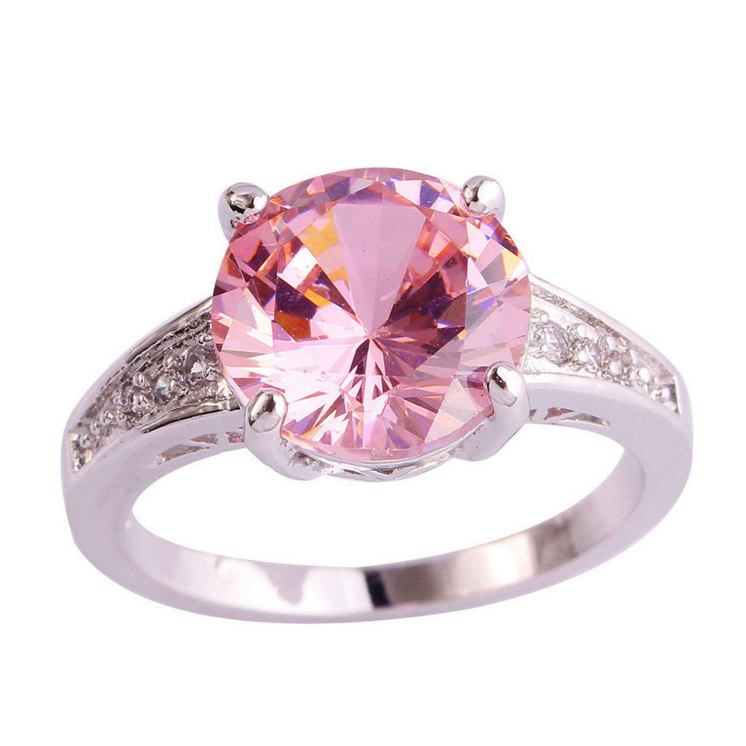 Slyq Jewelry Round Engagement Created Pink White CZ Women cz ...
