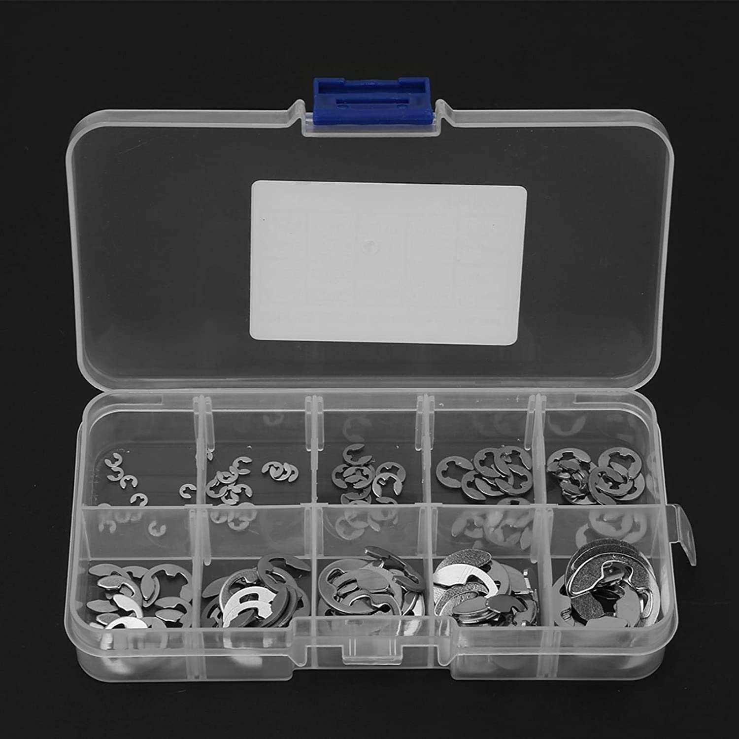 Retaining Snap Ring External Circlip Silver Durable 120Pcs 304 Stainless Steel E-Clip for 1.5mm-10mm