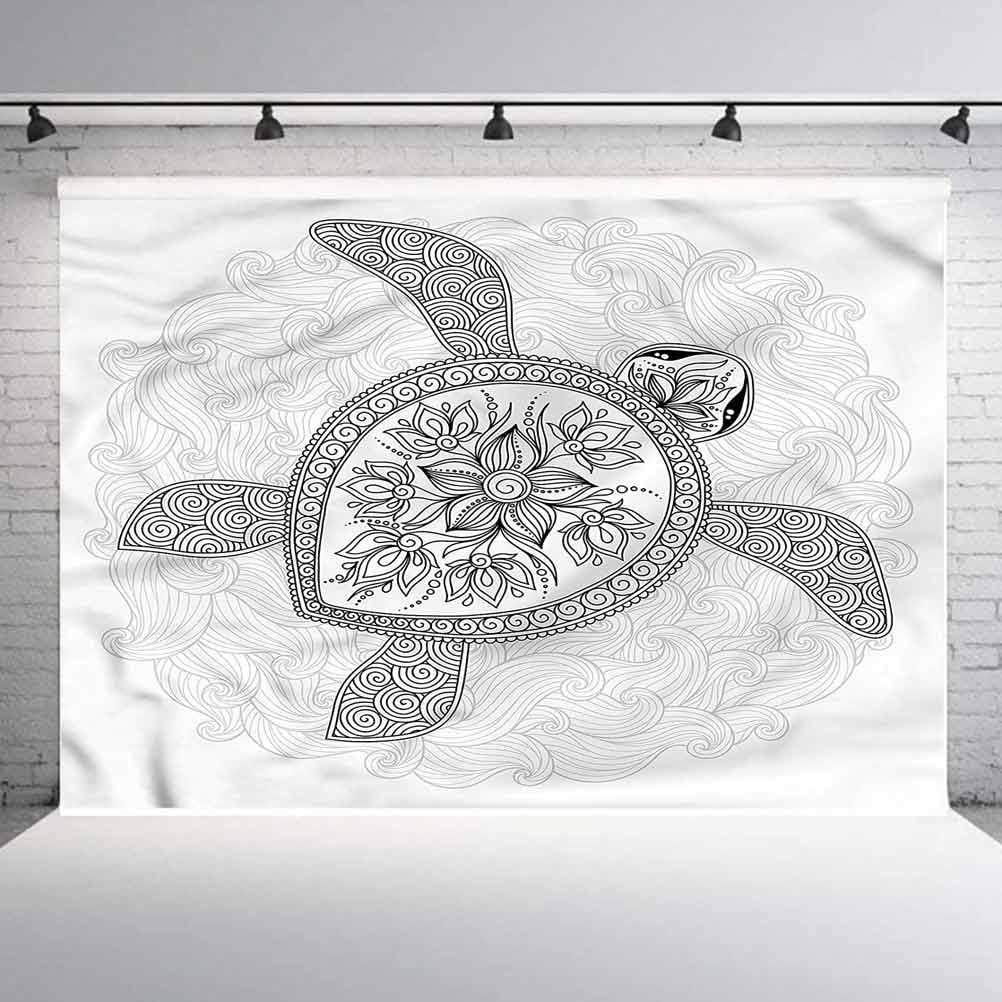 Motifs Curves Doodle Photoshoot Props Photo Background Studio Prop 5x5FT Vinyl Photo Backdrops,Turtle