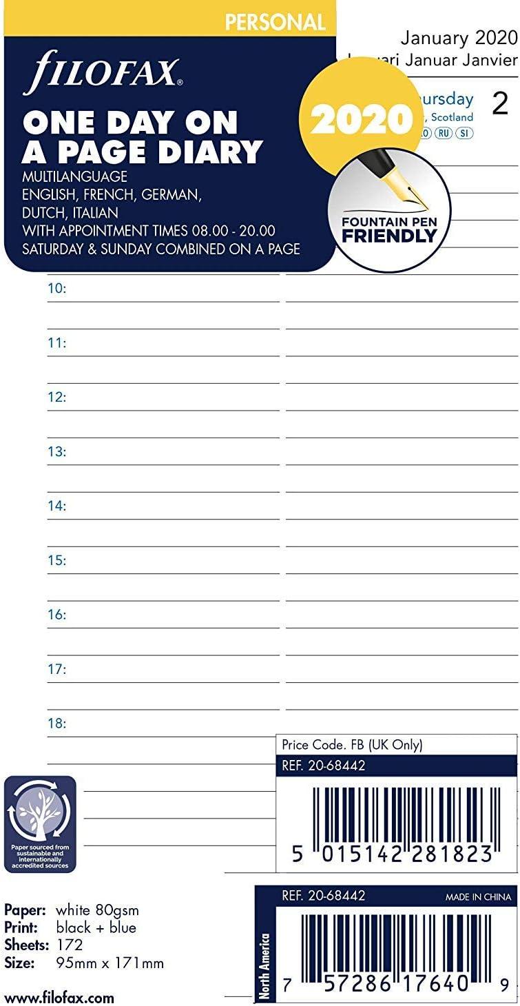 5 lingue Filofax Agenda personale 2020 giorno per pagina