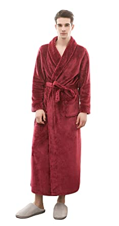 5fe47ba63e Honofash Bathrobe Men Dressing Gown Towelling Terry Fluffy Boy Luxury Long  Plus Size Spa XXL Belt