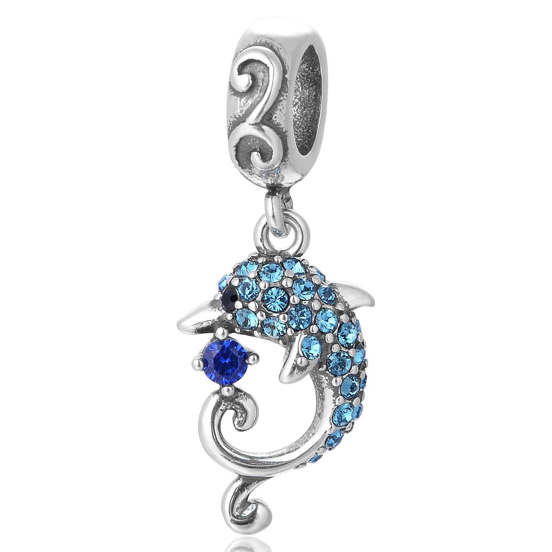Globalwin Dauphin Perle charm –  Argent 925 –  Pendentif dauphin –  Compatible avec Pandora, Biagi et Troll Cadeau de Saint Valentin. GlobalWin Jewelry S364