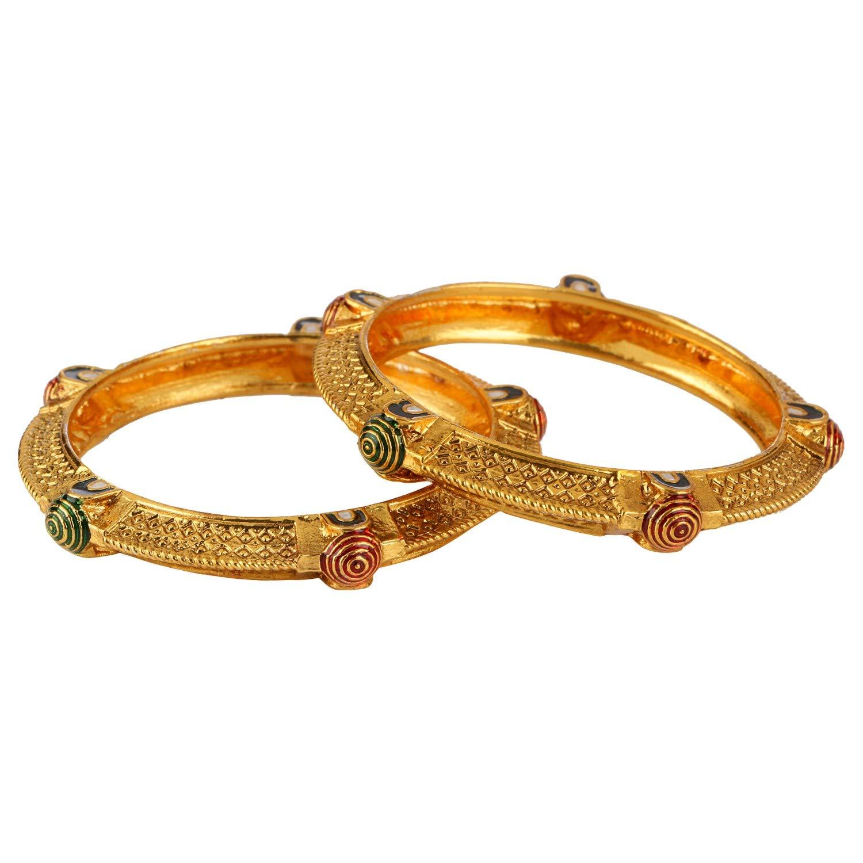 Efulgenz Fashion Jewelry Indian Bollywood 14 K Gold Plated Faux Ruby Emerald Bracelets Bangle Set (2 Pieces) for Women