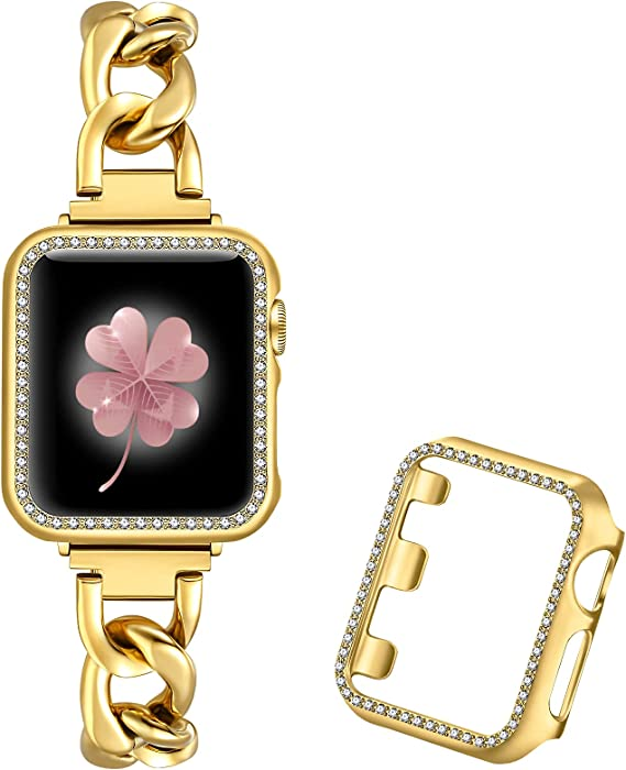 Dilando Cool Chain Metal Link Bands Compatible with Apple Watch 38mm 40mm 42mm 44mm Women with Bling Case, Gold Stainless Steel Band with Diamond Case for Iwatch SE series 6 5 4 3 2 1 (Gold, 44mm)