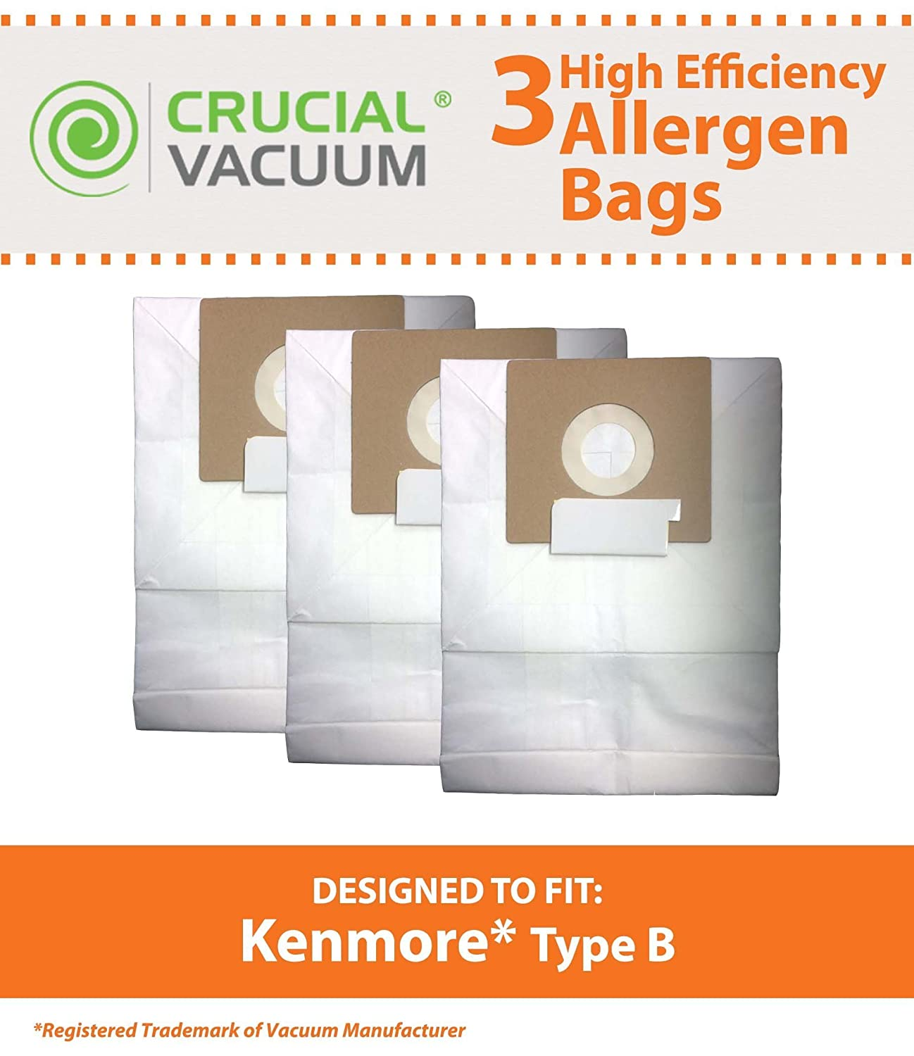 Think Crucial 3 Replacements for Kenmore Type B Cloth Bags Fit Kenmore /& Oreck Canister Vacuums Compatible With Part # 85003 634875 115.2496210 Fits Kenmore 24196 Oreck Quest MC1000 24196