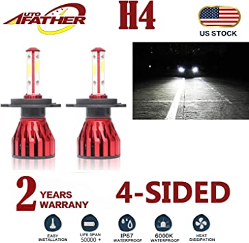 2Pcs H4 LED Headlight Bulbs Conversion Kit 9003//HB2 Car Headlamp 20000LM 6000K Cool White Double Beam DRL Fog Light Replacement Plug and Play
