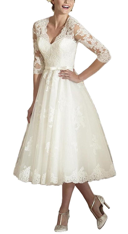 Brl Mall Womens Tea Length V Neck Lace Wedding Dress With Half