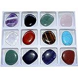 Heilstein Starterset 12 Stück flache Edelsteine einzeln benannt je ca. 30 - 40 x 10 mm z.B. Amethyst Bergkristall Tigerauge u.a.