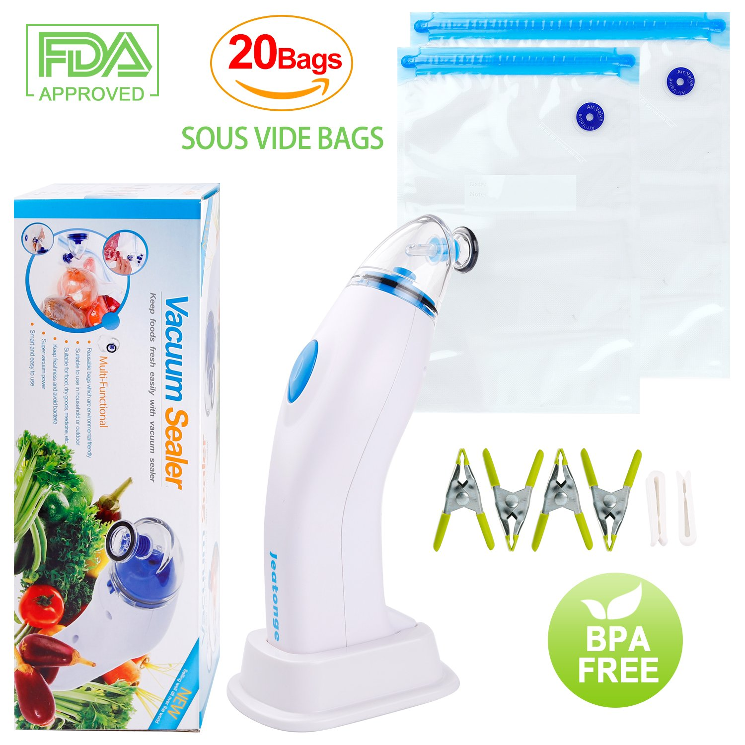 Jeatonge Sous Vide Bags and Power-Driven Pmup 20 Reuseble Bags Easy to Use (Electric Pump + 20 Bags) by Jeatonge (Image #1)