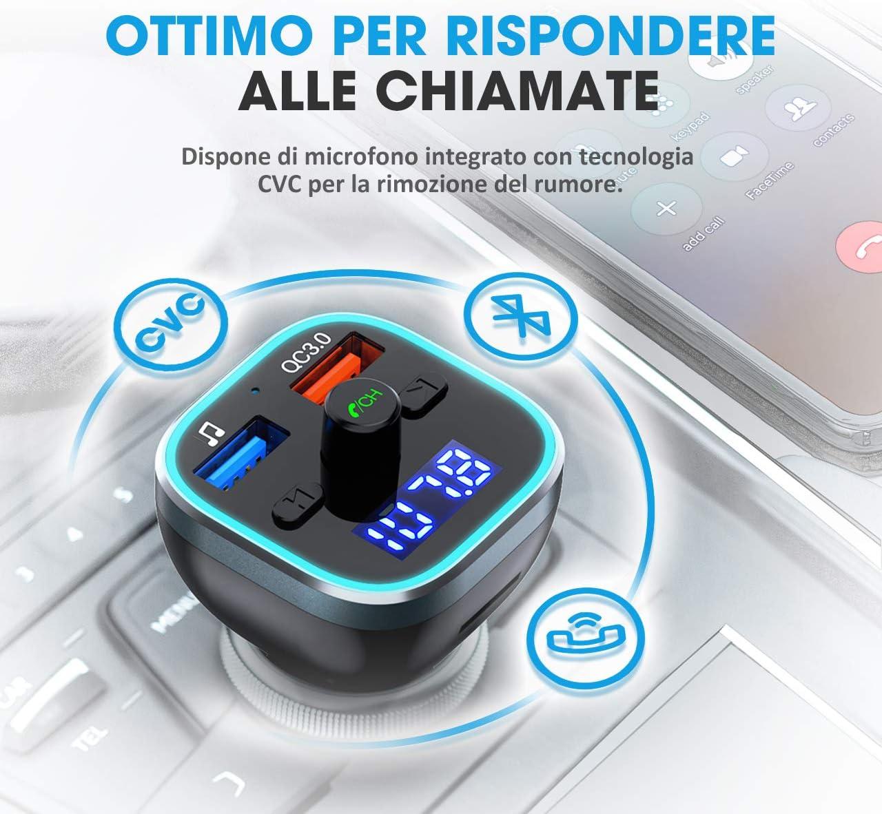 Chiamata in Vivavoce VicTsing Trasmettitore FM Bluetooth 5.0 per Auto 6 LED Controluce 2 Porti USB QC3.0/&5V//1A U Disk//TF Card
