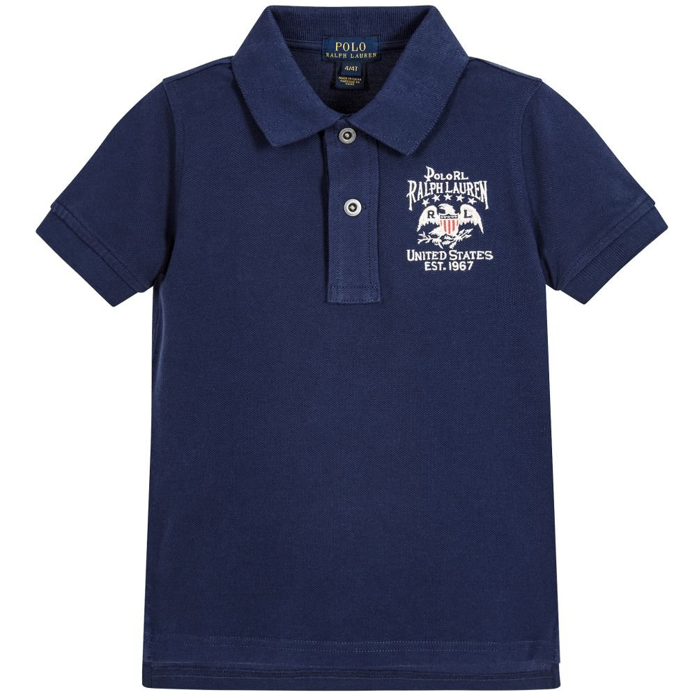 Ralph Lauren Boys Vintage Flag Patch Short Sleeve Polo Shirt