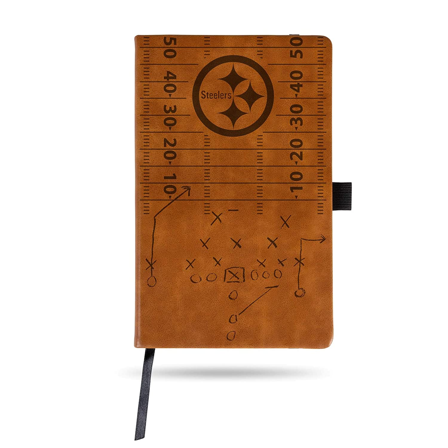 Rico Industries Steelers Laser Engraved Brown Notepad with Elastic Band