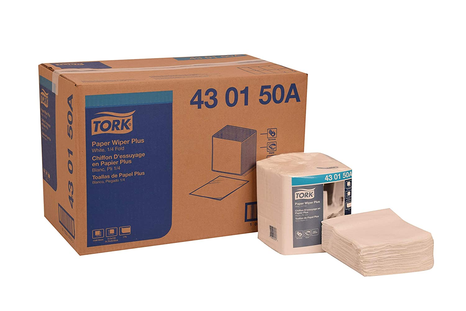 Tork 430150A Paper Wiper Plus, 1/4 Fold, 1-Ply, 12.5