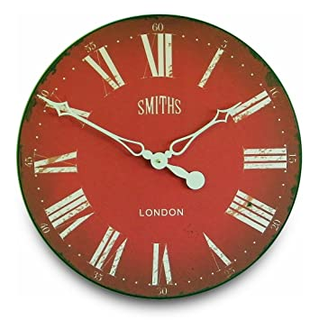 Smithu0027s Red Wall Clock   50cm