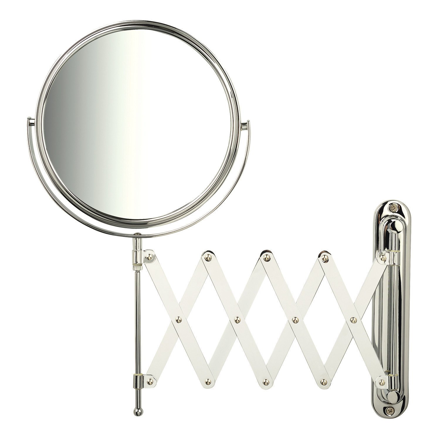 Jerdon JP2027C 1x-7x Magnification Wall Mount Mirror with Scissor Bracket, Chrome by Jerdon
