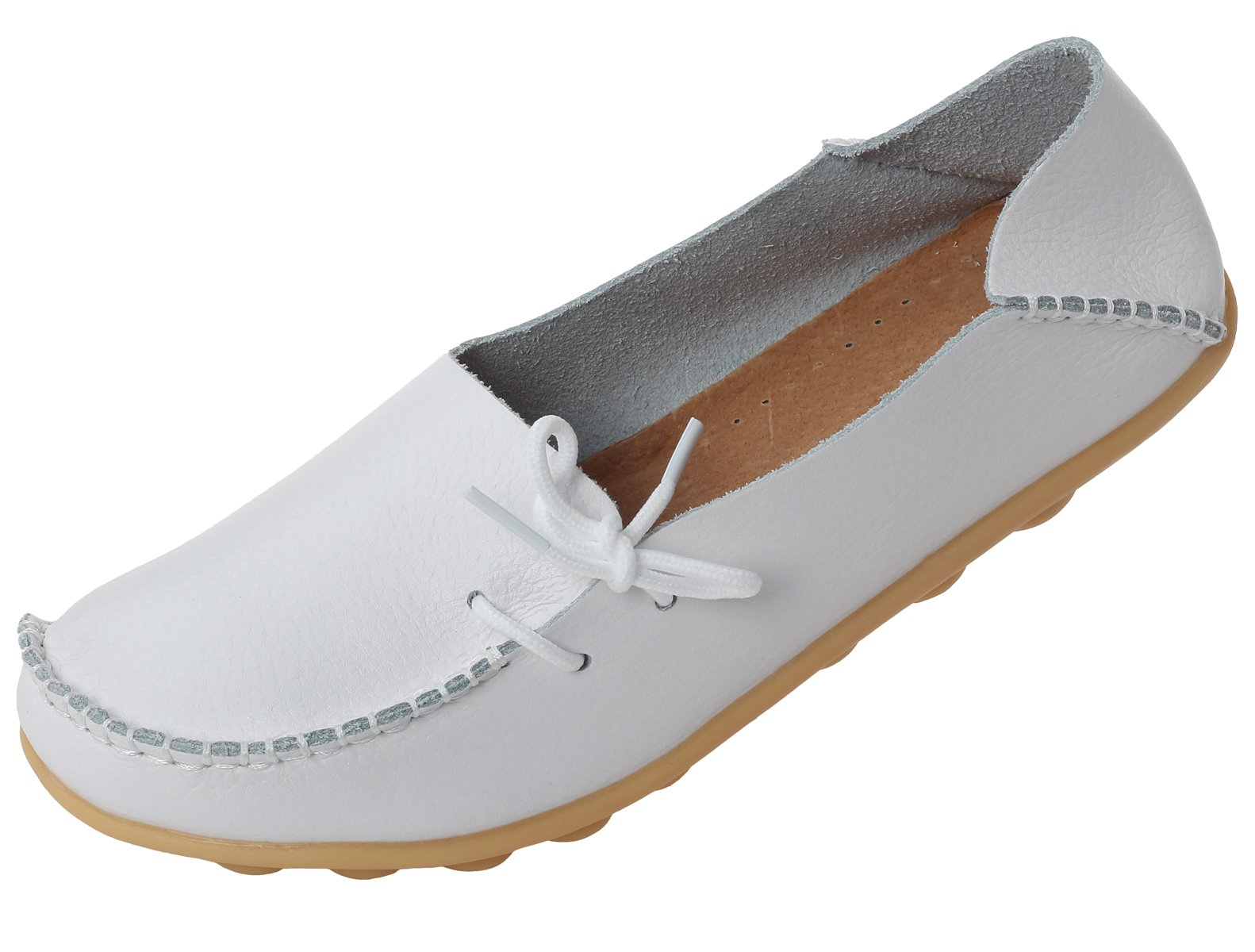 Mordenmiss Women's Casual Solid Color Moccasins Leather Loafer Shoes 38 Style 1-White
