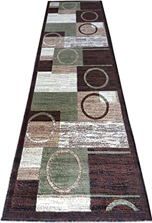 Modern Runner Area Rug Brown With Green Design 1497 2ft X7ft3in Amazon Ca Home Kitchen