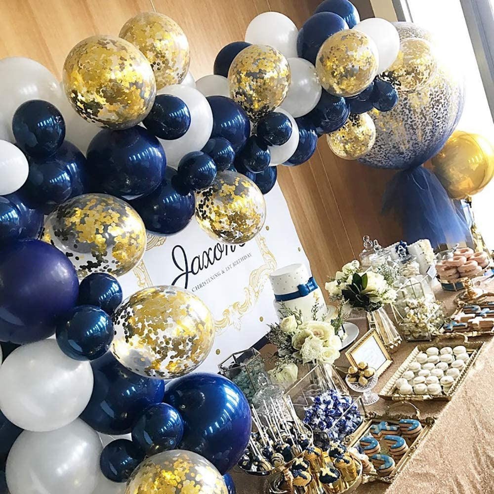 Lsang Navy Party Balloons Pack of 92-Metallic Navy/Pearl White Latex Balloons with Gold Confetti Balloons Metallic Sea Blue Latex Balloons for Birthday Party Navy Party Decoration