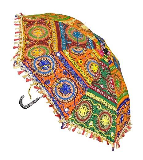 Lal Haveli Handcrafted Embroiderd Cotton Multicolor Parasol Umbrella 21 x 26 inches