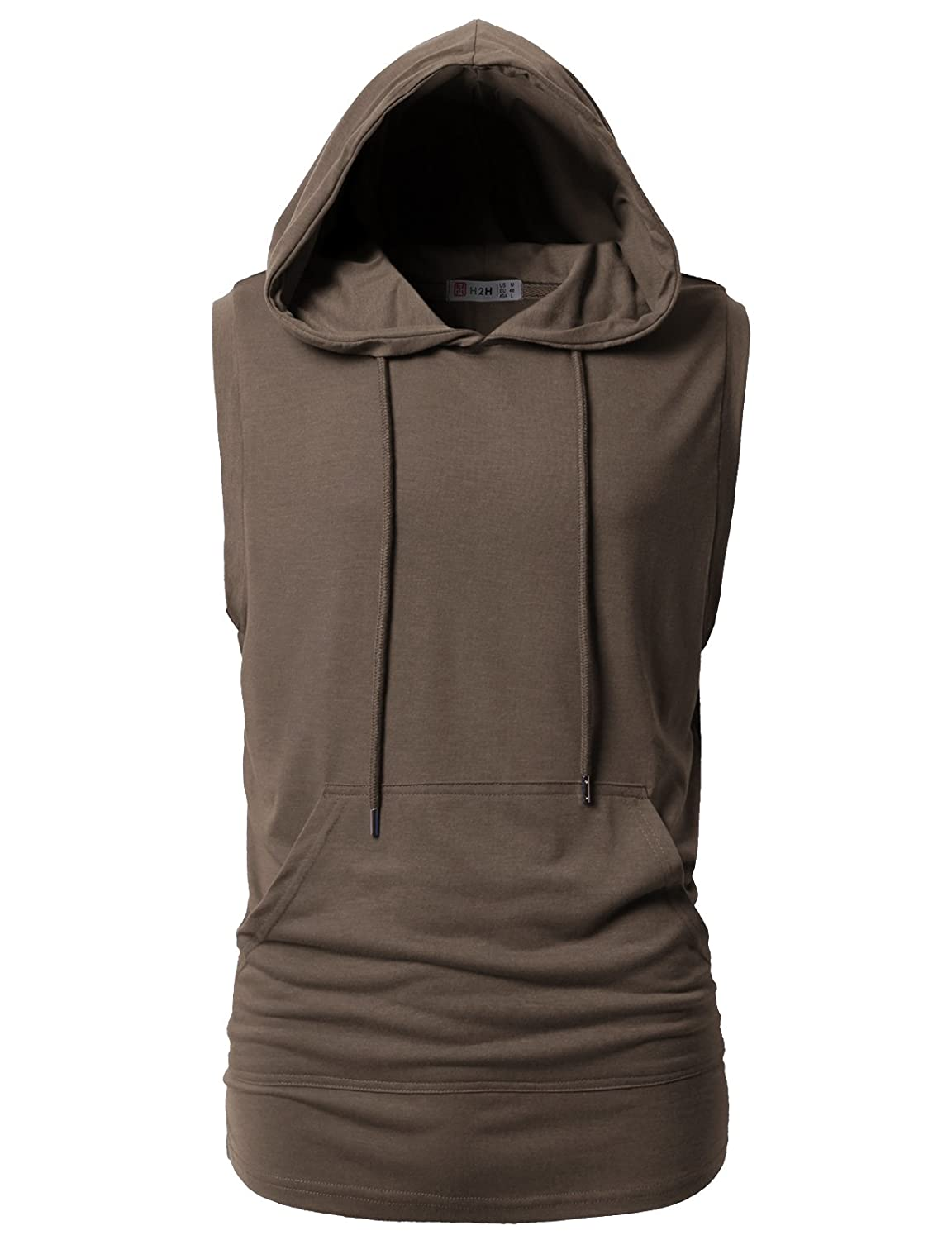 H2H Mens Casual Hipster Hip Hop Sleeveless Hoodie Longline Tank-Top with Pocket #CMTTK028