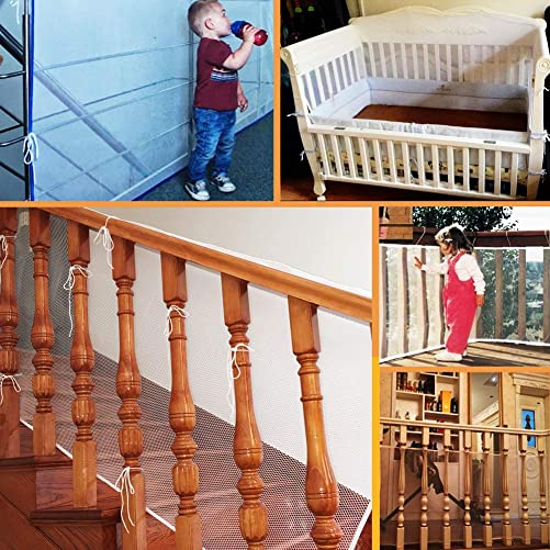 LULUME Baby Safety Rail Net – Banister Stair and Balcony Safety Net for Indoor Outdoor – Pet and Toy Safety -10 ft x 2.5 ft