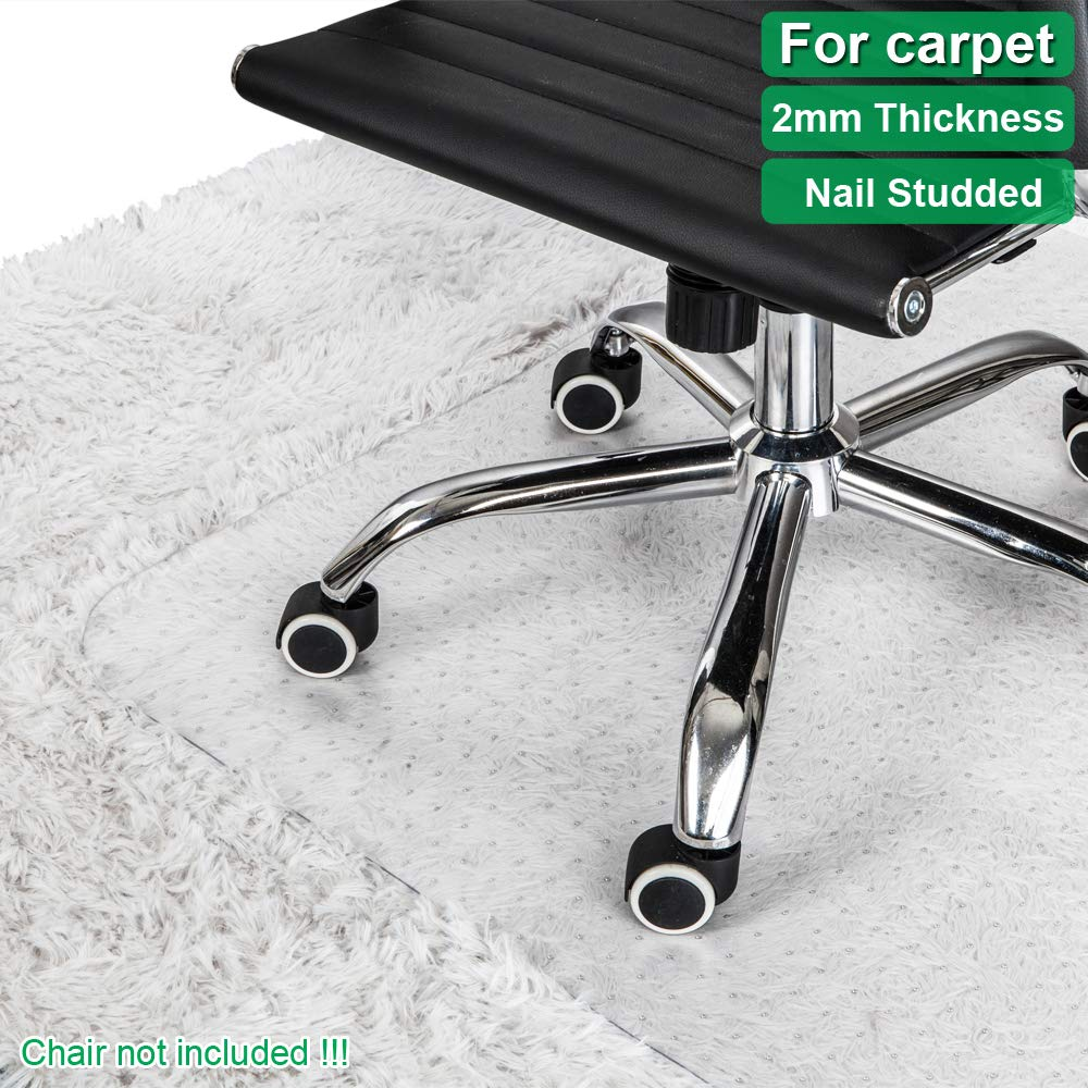 Office Chair Mat for Carpets Waterproof PVC Multi Purpose (Office, Home) Floor Protector for Hard Floor Thick Highly Quality with Studs 36'' X 48'' (Thick 2MM with Nails Rectangle)