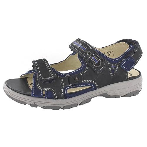 Waldläufer HERKI 361004 666 356 Comfort Women's Sandals Blue Size: 4