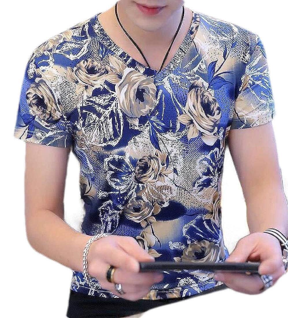 Rrive Men V-Neck Short Sleeve Crew Neck Casual Printed T-Shirt Tee Top