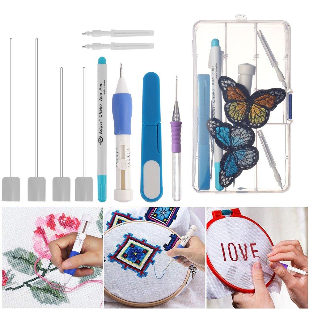Kit completo herramienta para bordar bolígrafo magico NEEDLE PUNCHING de 2 piezas con 2 Agujas de repuesto + 2 parches bordados maripos y enhebradores en ...