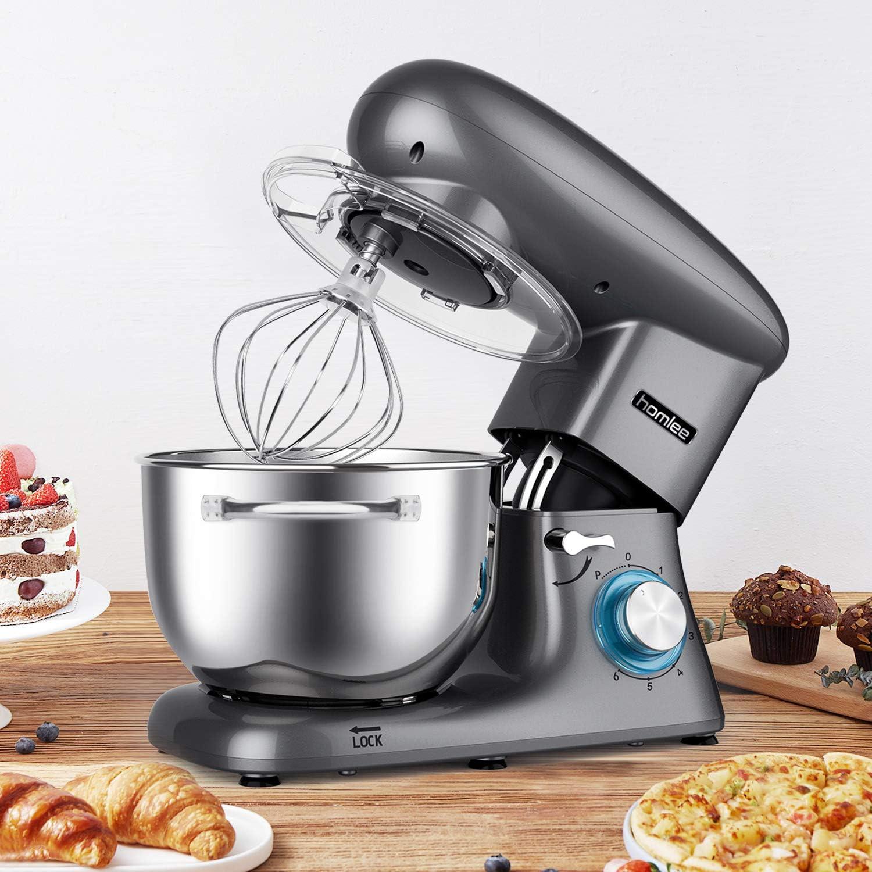 homlee 1500W Batidora Amasadora Profesional, Robot de Cocina Multifuncional 6 Velocidades Amasadora de Pan Mezclador electrico 5.5L: Amazon.es