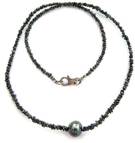 Renato Fellini Damen-Collier Rohdiamant 925 Sterlingsilber Diamantsplitter 22.5ct und SWZP grau 45 cm 002