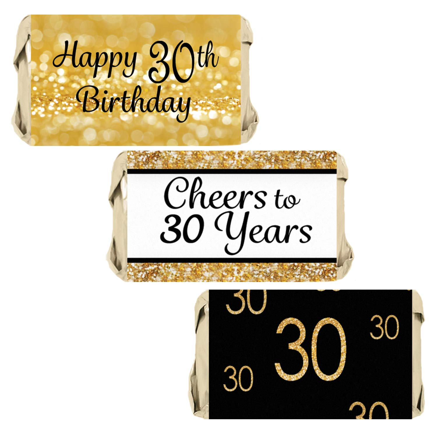 Black And Gold 30th Birthday Party Mini Candy Bar Wrappers