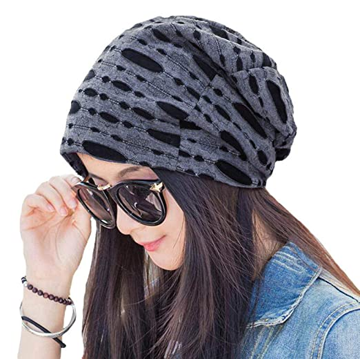 4642156fdad Zando Women Cotton Slouch Hollow Beanie Stretchy Hat Warm Soft Comfy Skull  Caps for Hairloss Cancer