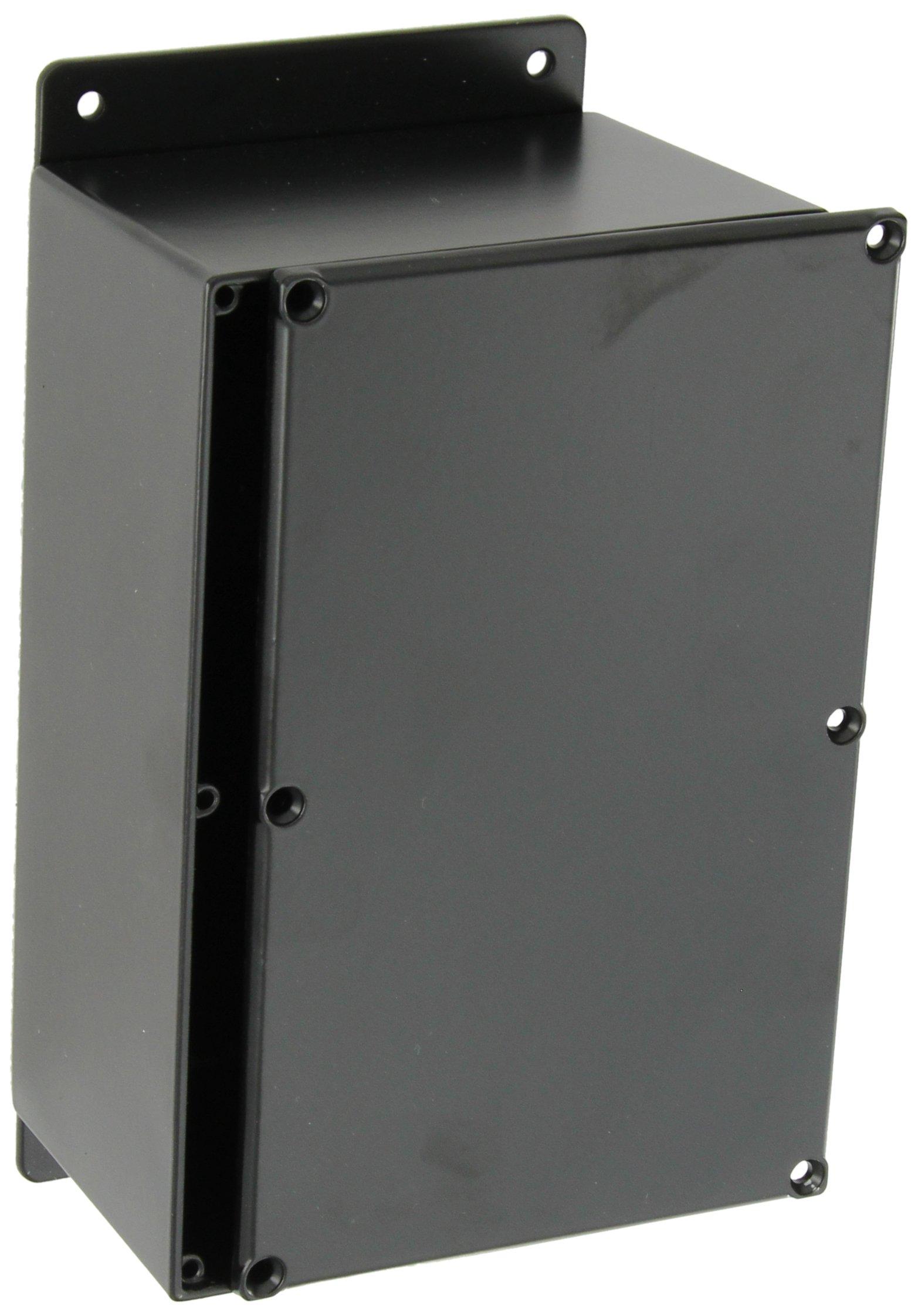 BUD Industries CU-4347-B Die Cast Aluminum Econobox with Mounting Bracket, 7-3/8'' Length x 4-11/16'' Width x 3-13/64'' Height, Black Powdercoat Finish