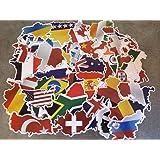 Set di adesivi Country, mappa del mondo, viaggio, Europa, Shape, bandiere internazionali