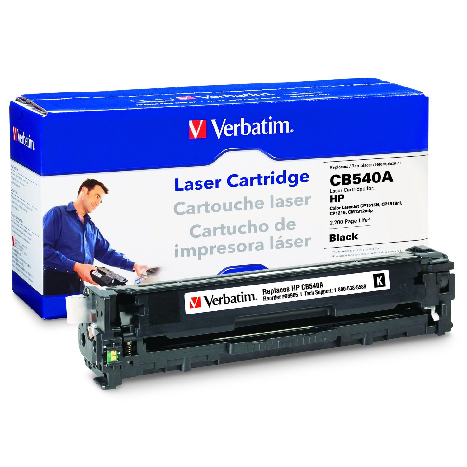 Verbatim Remanufactured Toner Cartridge Replacement for HP CB541A (Cyan)