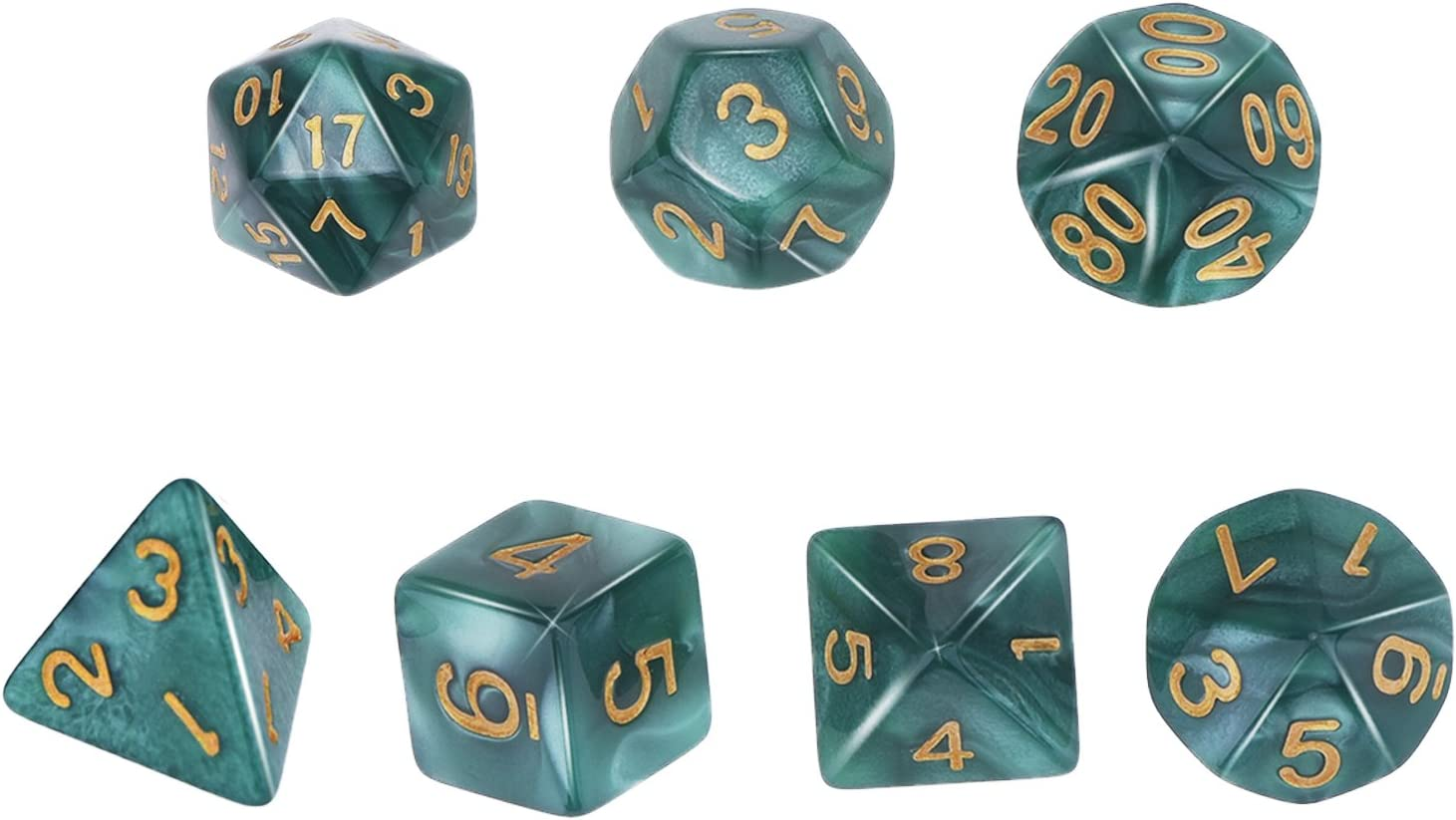 Green eBoot Polyhedral 7-Die Dice Set for Dungeons and Dragons with Black Pouch