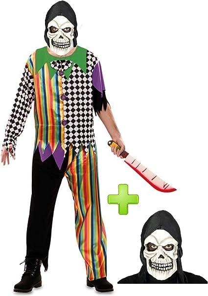 Disfraces Halloween Disfraz de Payaso asesino Calavera: Amazon.es ...