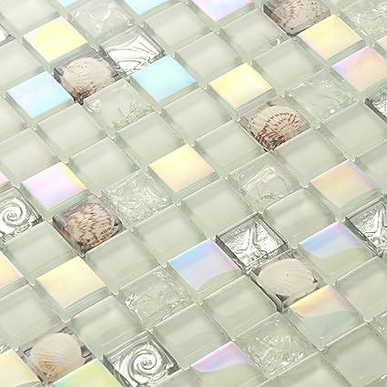 Iridescent Tiles Glass Mosaic Conch Tile Backsplash White ...
