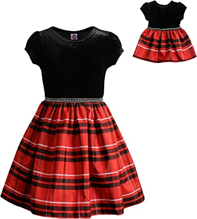 """NEW Dolly /& Me 18/"""" DOLL Red Plaid Holiday Dress  NEW"""