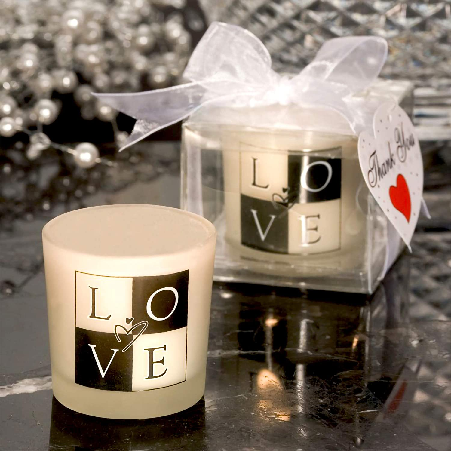 Pack of 24 for Wedding Favors Centerpieces /& Home Decor Black and White Design With Tealight Candle Baby Shower Fashioncraft LOVE Glass Votive Candle Holder Frosted
