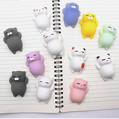 4 pcs Mini Mochi Squishy Chat Squeeze Jouet Animal Stress Reliever Jouets Slow Rising Guérison Jouet
